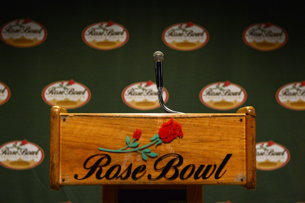 . A Rose Bowl Stadium press podium is seen Thursday, June 20, 2013 in advance of the historic stadium\'s first public tours, which begin Saturday. The podium will be available to the public during the tours. (SGVN/Staff Photo by Sarah Reingewirtz)