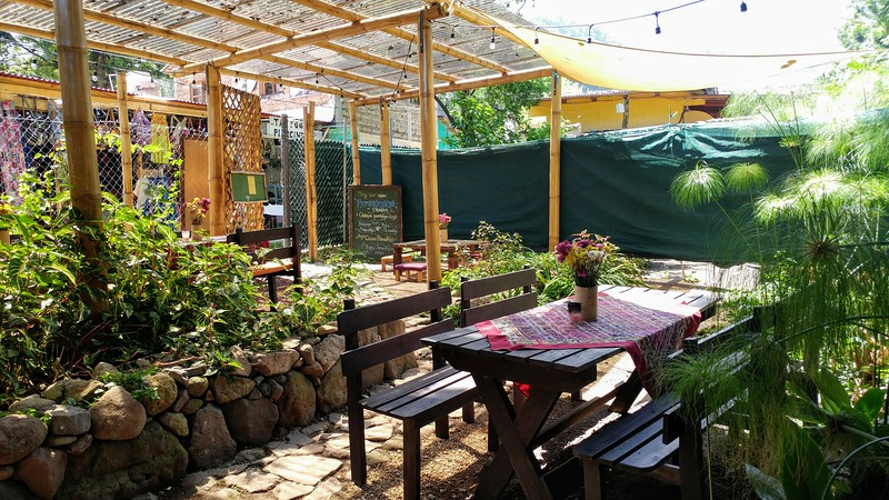 an outdoor cafe surrounded by greenery