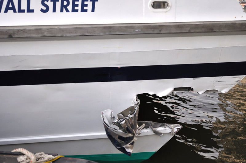 . This photo provided by the U.S. Coast Guard shows the gaping hole in the hull of a high-speed passenger ferry from New Jersey after it crashed into a dock in New York, in lower Manhattan Wednesday, Jan. 9, 2013, seriously injuring 11 people. Scores of people who had been standing, waiting to disembark, were hurled to the deck or launched into walls by the impact, which came after the catamaran Seastreak Wall Street slowed following a routine trip across New York Bay and past the Statue of Liberty, passengers said. (AP Photo/ U.S. Coast Guard, Petty Officer 2nd Class, Jetta Disco)
