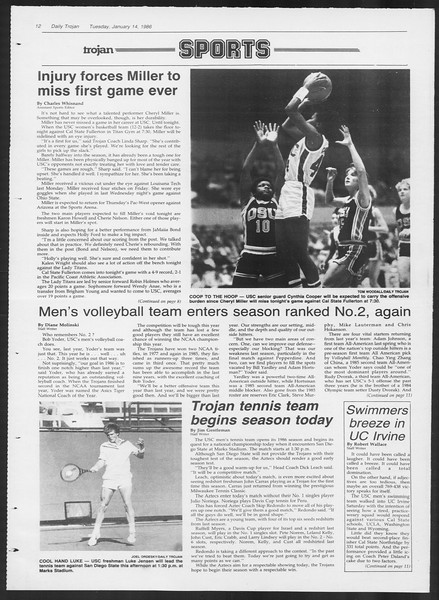 Daily Trojan, Vol. 100, No. 3, January 14, 1986