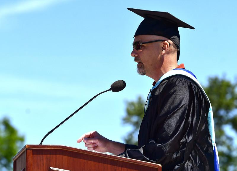 6/15/2019 Mike Orazzi   Staff New Britain High School Principal Damon Pearce during Saturday's graduation ceremony at Veterans' Memorial Stadium.