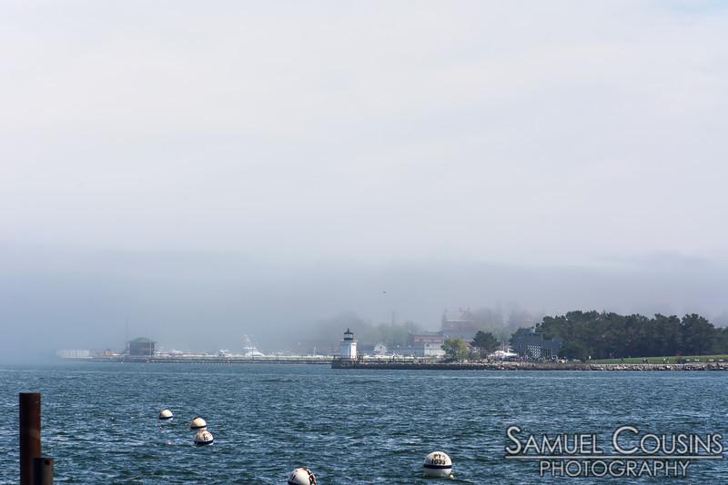 Heavy fog over the water near Bug Light