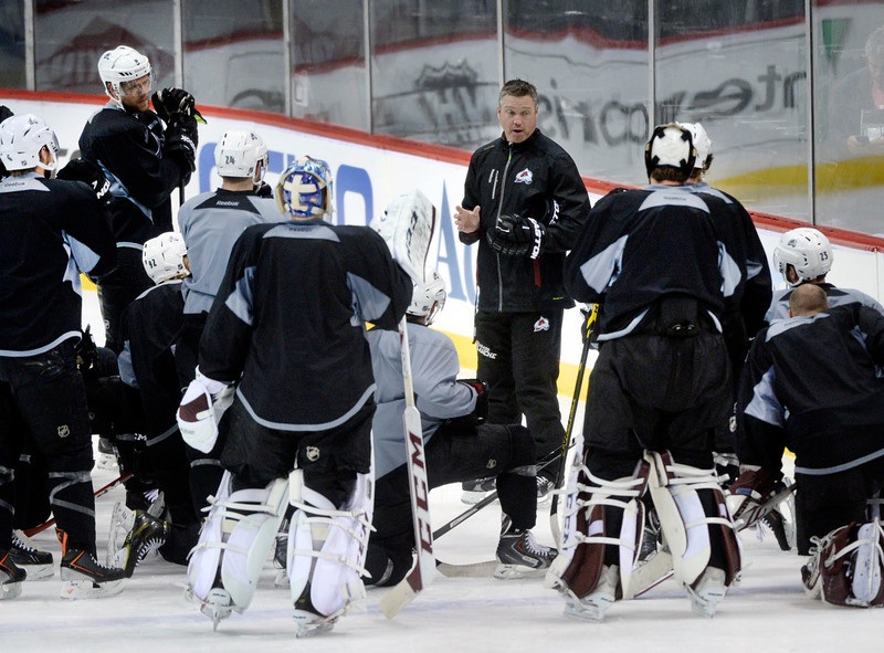 . Avs coach Patrick Roy talked to the team during practice Wednesday. The Colorado Avalanche practiced  at the Xcel Energy Center in St. Paul Wednesday afternoon, April 23, 2014. (Photo by Karl Gehring/The Denver Post)