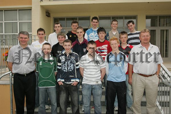 Pictured with Principal Mr Hugh Mallon and Vice Principal Mr Peter O'Hare are pupils from St Joseph's Boys' High School Newry who recieved their G.C.S.E. results on Thursday last. 07W35N19