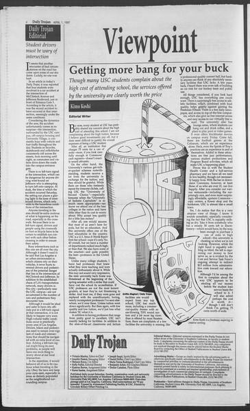 Daily Trojan, Vol. 130, No. 48, April 01, 1997