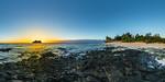 Sunset behind Vomo Lailai Island from Vomo Island - Fiji Islands