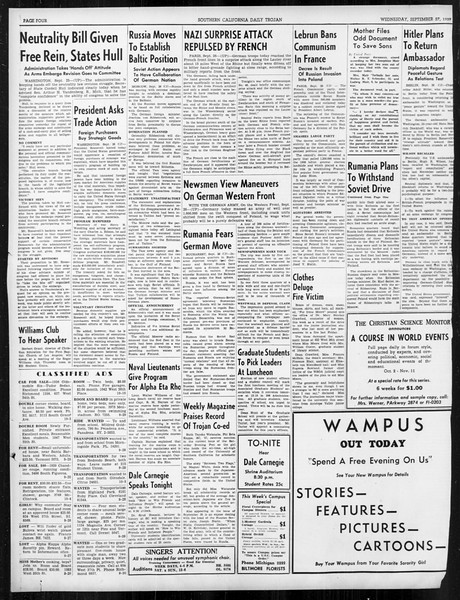 Daily Trojan, Vol. 31, No. 9, September 27, 1939