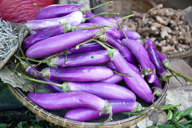 Bright purple eggplants at the market in Nyaung Shwe, near Inle Lake, Burma (Myanmar).