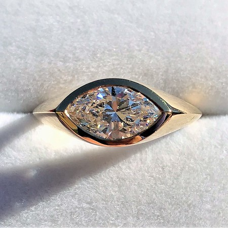 1.02ct Marquise Cut Diamond Ring GIA E VS2
