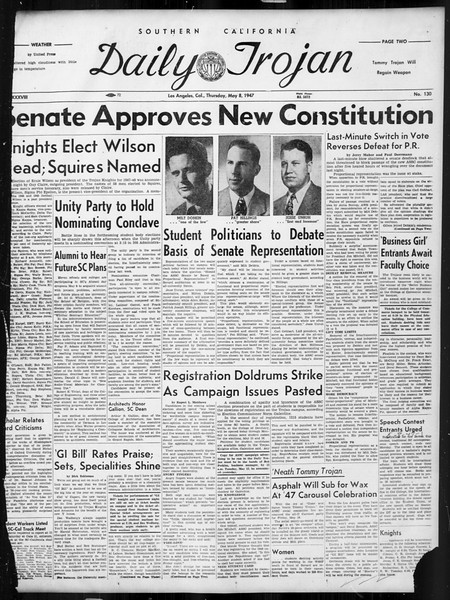 Daily Trojan, Vol. 38, No. 130, May 08, 1947