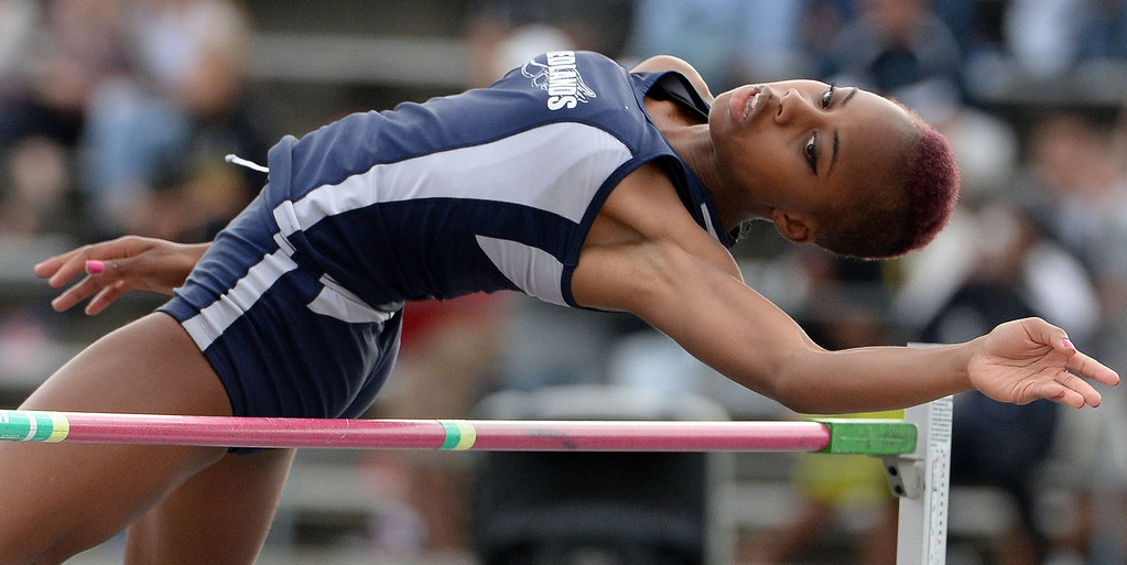 . Redland\'s Juanita Webster competes in the division 2 high jump during the CIF Southern Section track and final Championships at Cerritos College in Norwalk, Calif., on Saturday, May 24, 2014.   (Keith Birmingham/Pasadena Star-News)