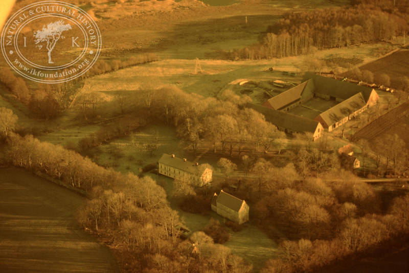 Araslöv manor house and church with farmland. Experimentally photographed with yellow filter (19 November, 1988). | LH.0230