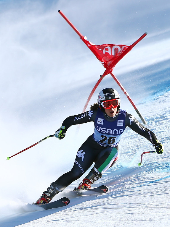 . Italy\'s Sofia Goggia twists a gale as she makes a turn during the women\'s World Cup super-G skiing event, in Beaver Creek, Colo., Saturday, Nov. 30, 2013. (AP Photo/Allesandro Trovati)