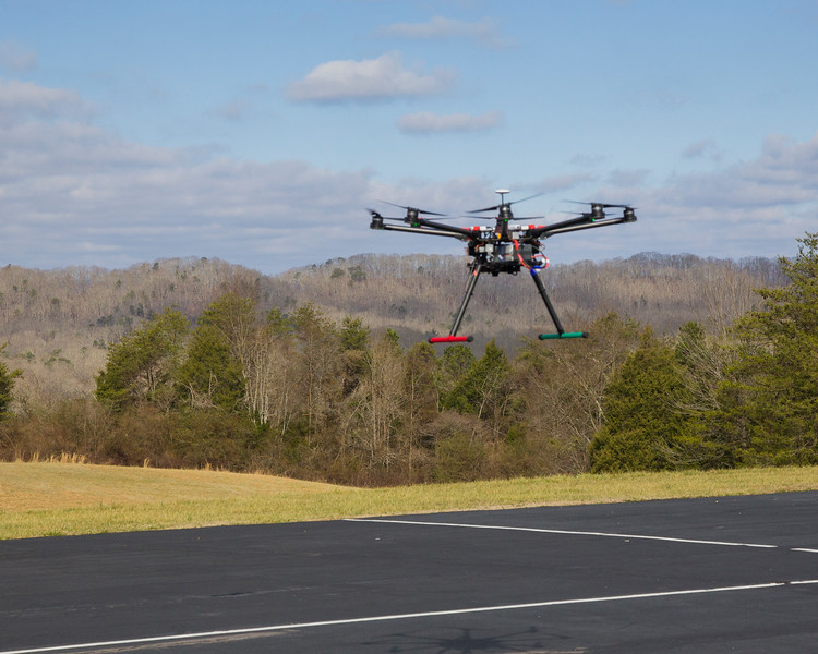 The DJI S-1000 in flight at the Knox County Radio Control model flying field in Knoxville, TN.  Picture credit: Bob Sulfridge.