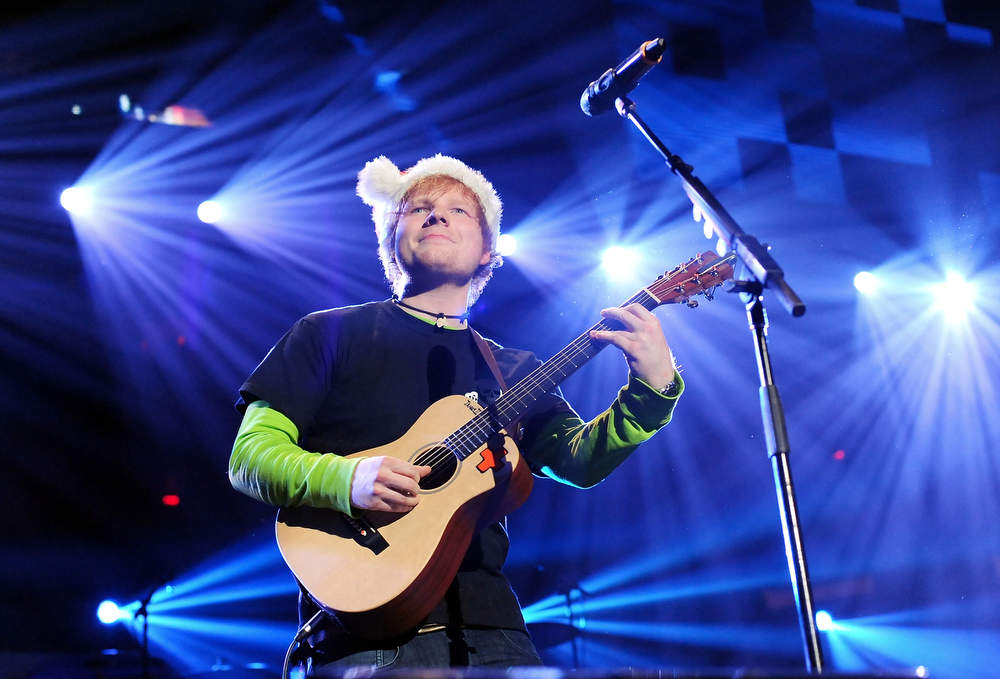Description of . Singer Ed Sheeran performs at Z100's Jingle Ball 2012 presented by Aeropostale at Madison Square Garden on Friday Dec. 7, 2012 in New York. (Photo by Evan Agostini/Invision/AP)