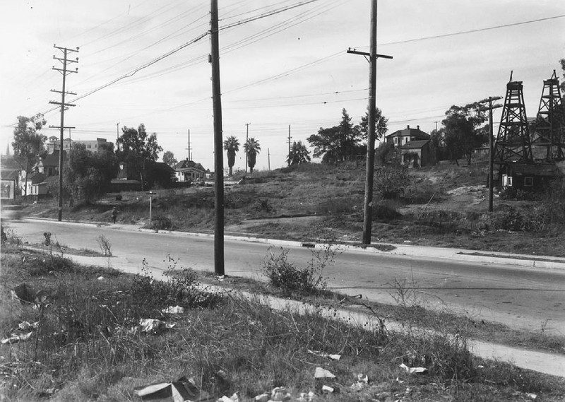 Street bordering on the Chavez Ravine oil field, ca.1930