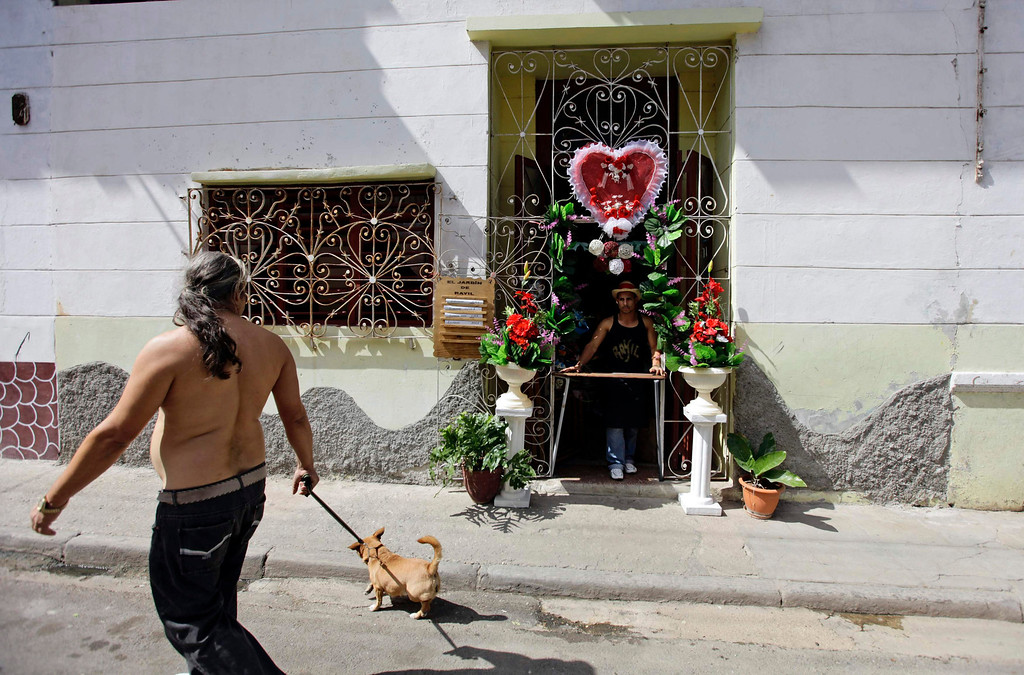 . A man waits for customers to buy his flower arrangements as Valentine\'s Day gifts at his stall in Havana, February 13, 2013. Picture taken February 13, 2013.  REUTERS/Desmond Boylan