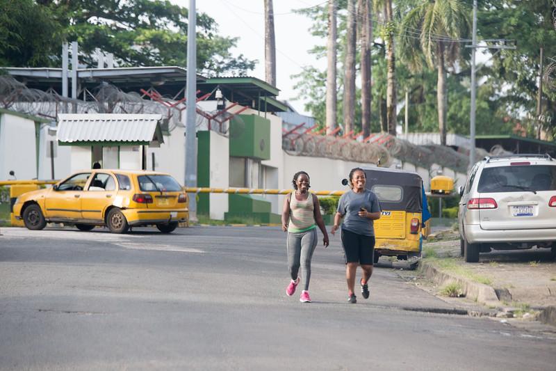 Monrovia, Liberia October 13, 2017 - Women walking in the street.