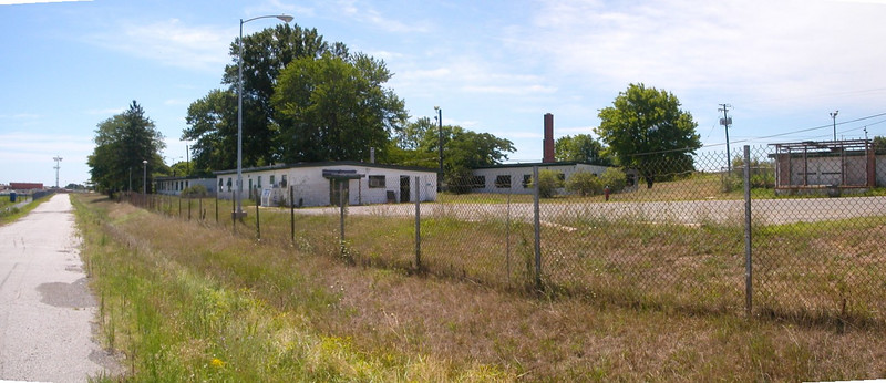 View of acess road to Fire Control Area with Barracks and Mess Hall.