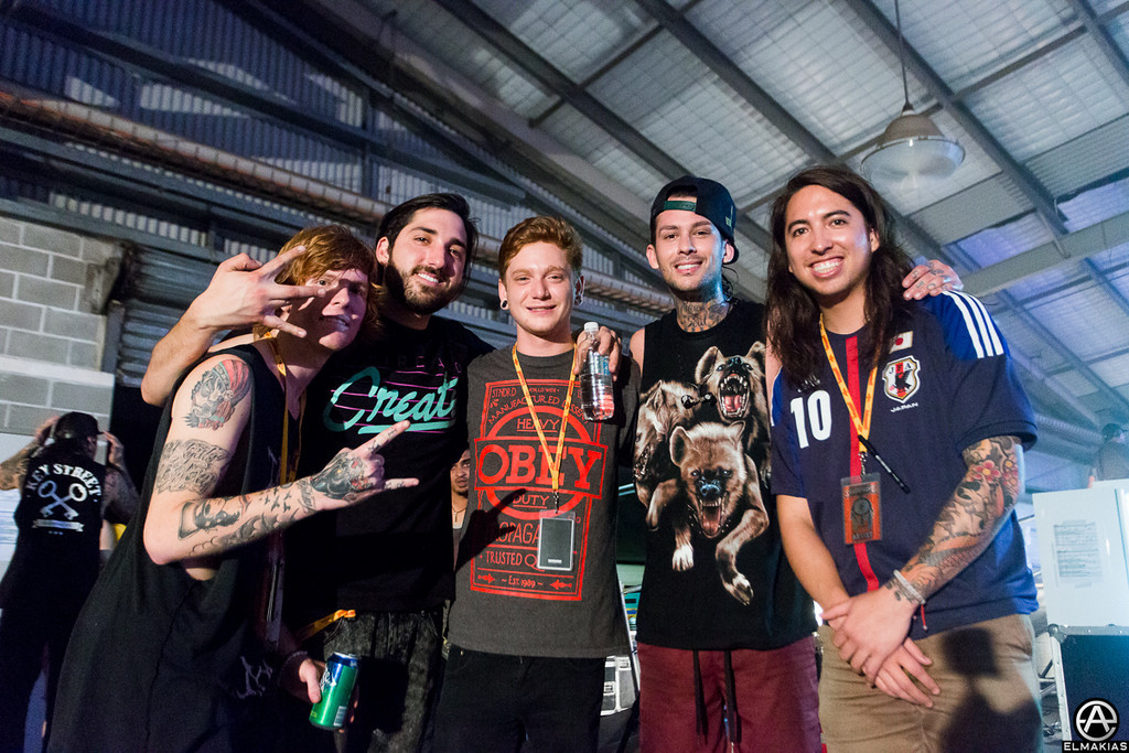 Of Mice & Men and Pierce The Veil hanging after their set
