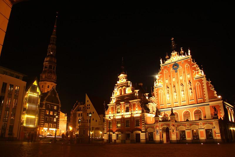 Stunning Town Hall Square (Ratslaukums) at night -Riga, Latvia