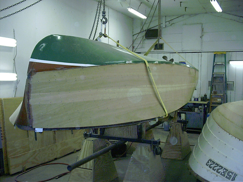 Front starboard side rough sanded ready to be plugged.