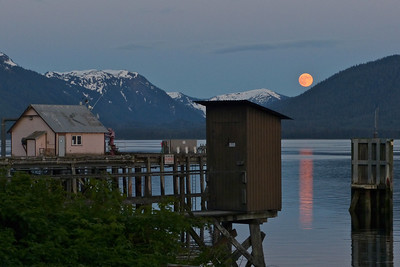 A Crescent Moon and a Full Moon June 2012, Cynthia Meyer, Tenakee Springs, Alaska