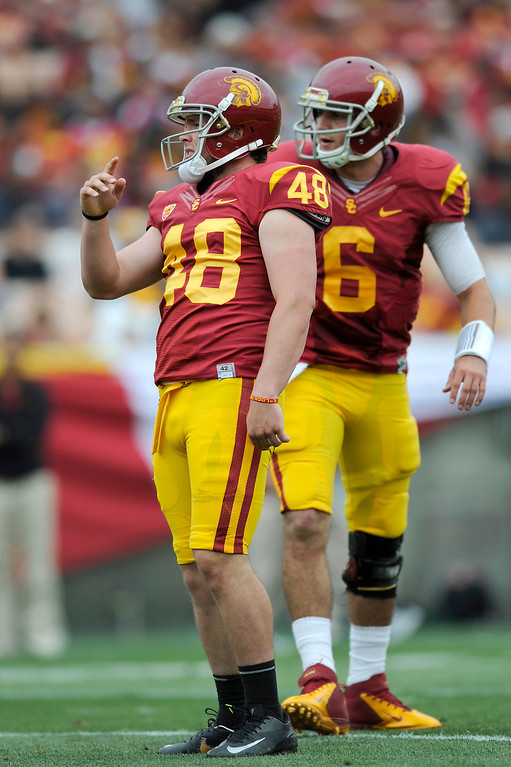 . Kicker Andre Heidari (#48) watches his extra-point at USC\'s Spring Football Game. (Michael Owen Baker/Staff Photographer)