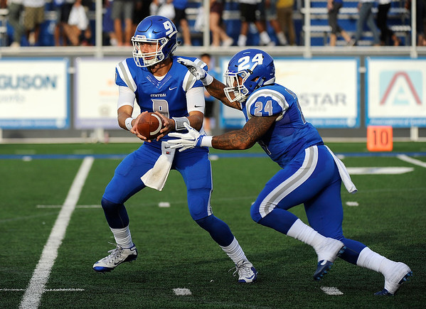 9/2/2016 Mike Orazzi | Staff rCCSU's Jacob Dolegala (9) and Brenden Lytton (24) in New Britain Friday night.