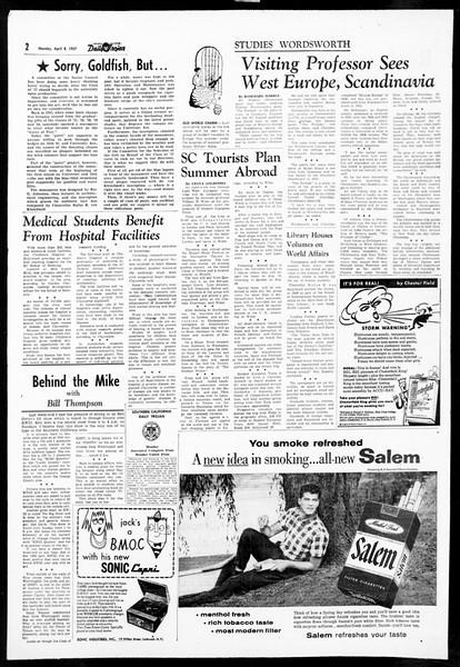 Daily Trojan, Vol. 48, No. 110, April 08, 1957