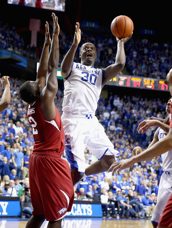 . Julius Randle #30 of the Kentucky Wildcats shoots the ball during the game against the Arkansas Razorbacks at Rupp Arena on February 27, 2014 in Lexington, Kentucky.  (Photo by Andy Lyons/Getty Images)