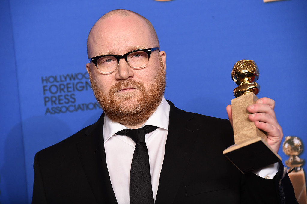 . Johann Johannsson poses in the press room with the award for best original score for ìThe Theory of Everythingî at the 72nd annual Golden Globe Awards at the Beverly Hilton Hotel on Sunday, Jan. 11, 2015, in Beverly Hills, Calif. (Photo by Jordan Strauss/Invision/AP)