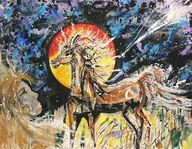 """Spirits in Flight"" (acrylic) by Elaina Goodkind"