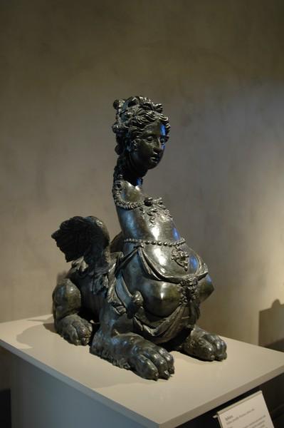 Female sphinx statue in Getty Center