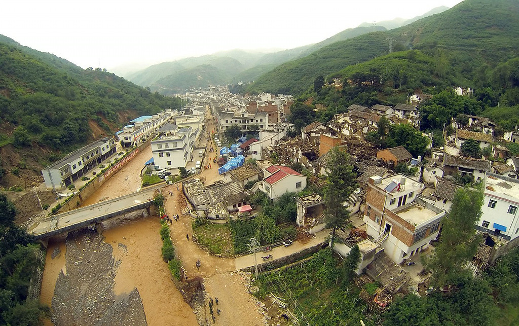 . An aerial view of the quake-hit area is seen on August 4, 2014 in Zhaotong, China. A 6.5-magnitude earthquake hit Zhaotong\'s Ludian county on August 3, killing at least 410 people.  (Photo by ChinaFotoPress/ChinaFotoPress via Getty Images)