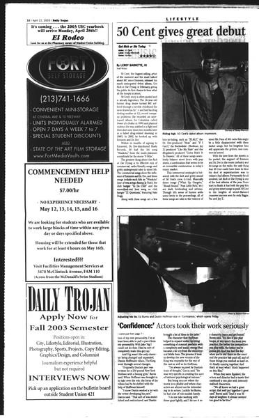 Daily Trojan, Vol. 148, No. 60, April 22, 2003