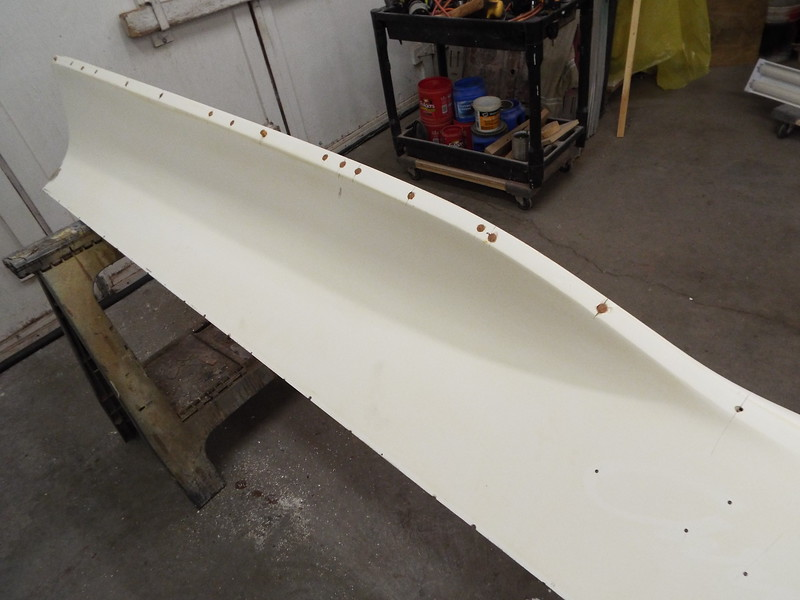 Starboard fin with the molding holes plugged.