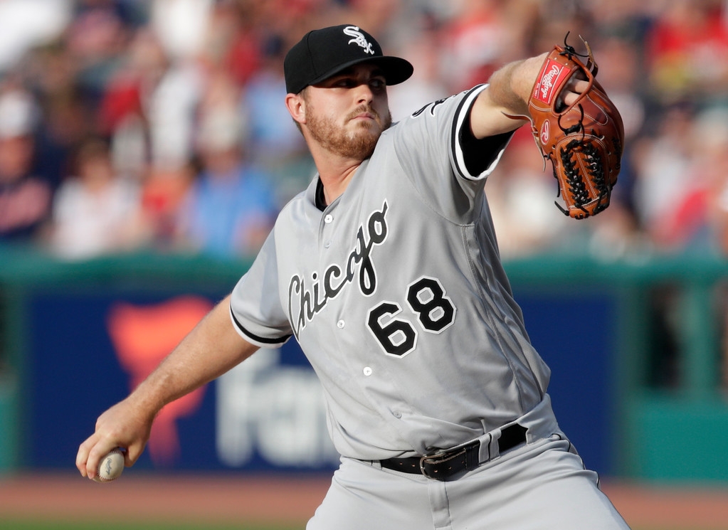 . Chicago White Sox starting pitcher Dylan Covey delivers in the first inning of a baseball game against the Cleveland Indians, Monday, June 18, 2018, in Cleveland. (AP Photo/Tony Dejak)