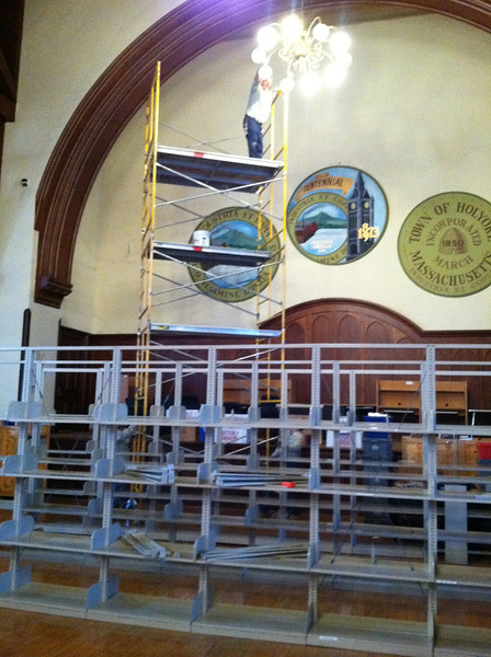 In January 2012 there was still much work to be done to prepare the City Hall Auditorium for Library use.