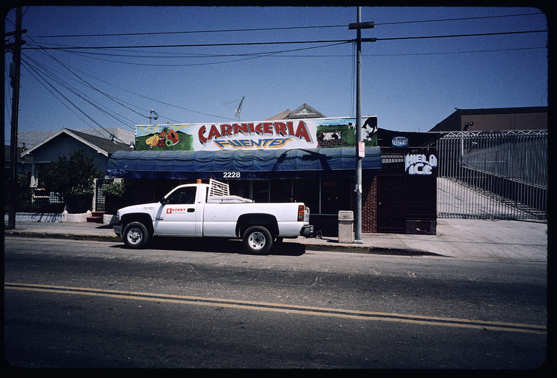 Stores on Maple Avenue from 23rd to 25th Street, west side of street, Los Angeles, 2004