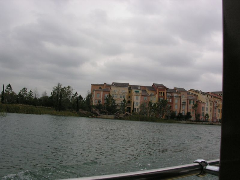 From inside the water taxi... cloudy, dreary and cold.  Our room overlooked the bay and was on this end of the hotel.