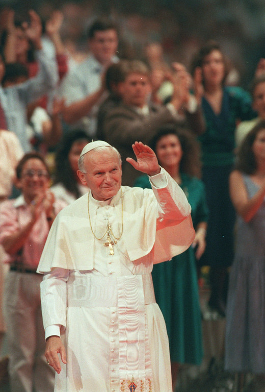 . Pope John Paul II waves during his visit to Los Angeles, September 1987. (Los Angeles Daily News file photo)