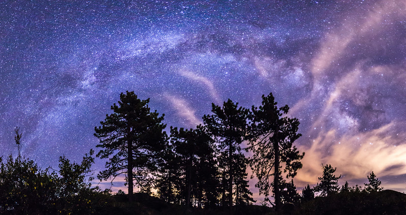Partly cloudy Milky Way over Noble Canyon in Mount Laguna