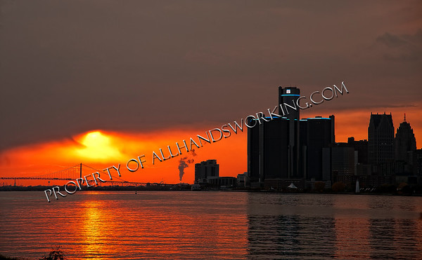 Detroit Skyline and Sunset