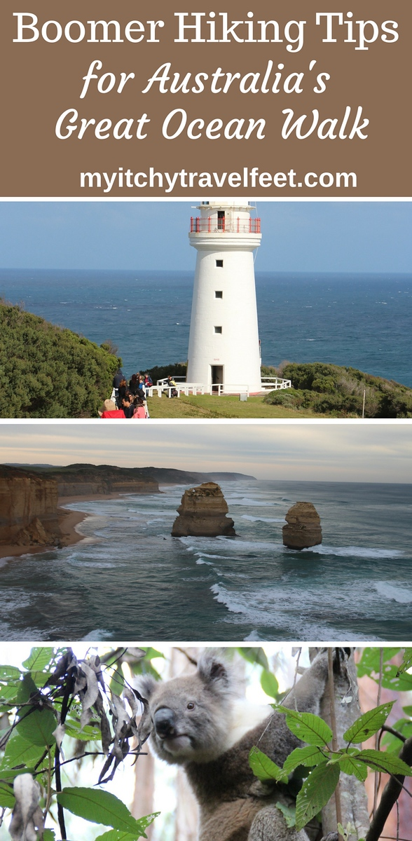 Text on photo: Boomer Hiking Tips for Australia's Great Ocean Walk. Photo collage: light house, limestone stacks in the ocean, koala bear