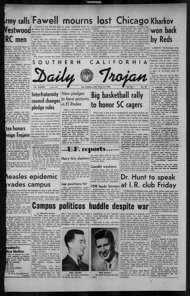 Daily Trojan, Vol. 34, No. 86, February 17, 1943