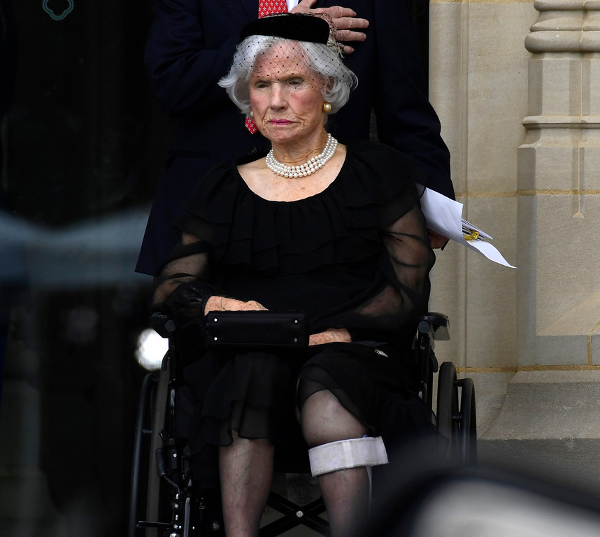 . Roberta McCain, mother of Sen. John McCain, R-Ariz., watches as his casket is carried out of Washington National Cathedral in Washington, Saturday, Sept. 1, 2018, following a memorial service. McCain died Aug. 25 from brain cancer at age 81. (AP Photo/Susan Walsh)