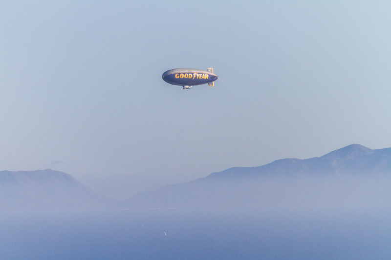 View of flying Goodyear blimp - USA - California