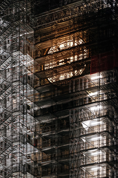 The Big Ben scaffolding at night, London