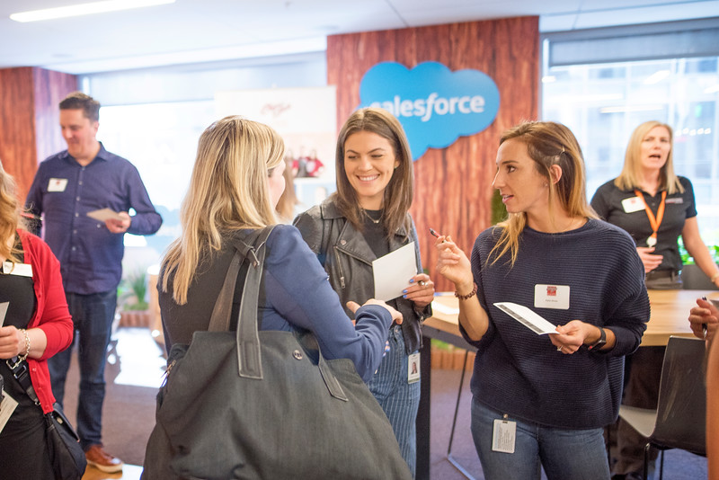 Alumni enjoy Chico State's Alumni Day at Salesforce West on Thursday, May 10, 2018 in San Francisco, Calif. (Jessica Bartlett /University Photographer/CSU Chico)